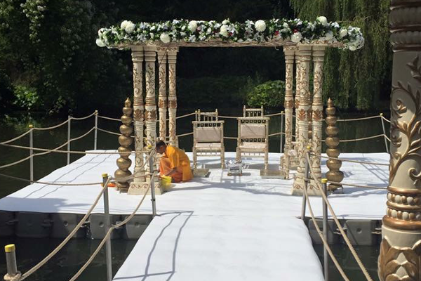 Pontoons used to create a floating wedding stage