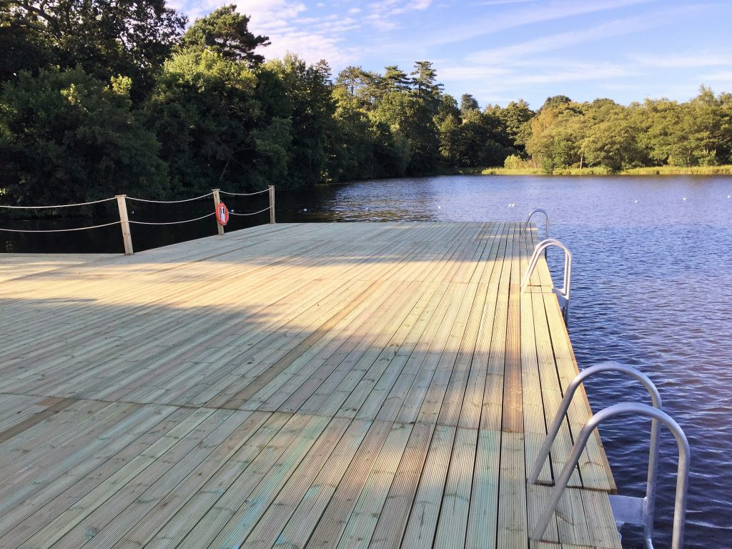 Timber cladding on pontoon