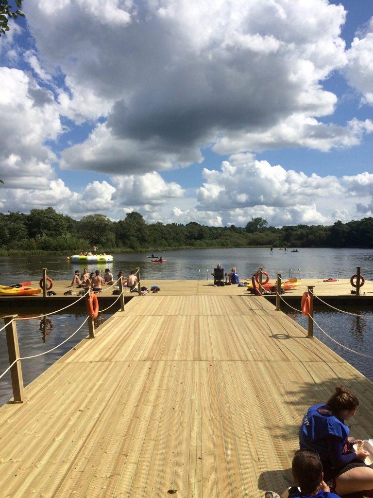Timber clad swim platform